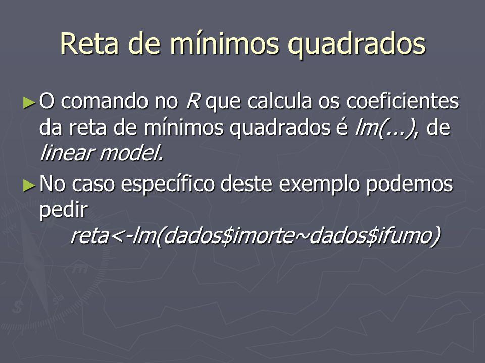 Reta de mínimos quadrados O comando no R que calcula os coeficientes da reta de mínimos quadrados é lm(...), de linear model.
