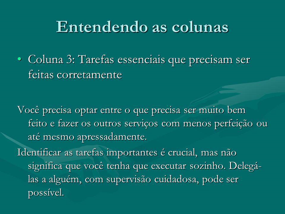 Entendendo as colunas Coluna 3: Tarefas essenciais que precisam ser feitas corretamenteColuna 3: Tarefas essenciais que precisam ser feitas corretamen