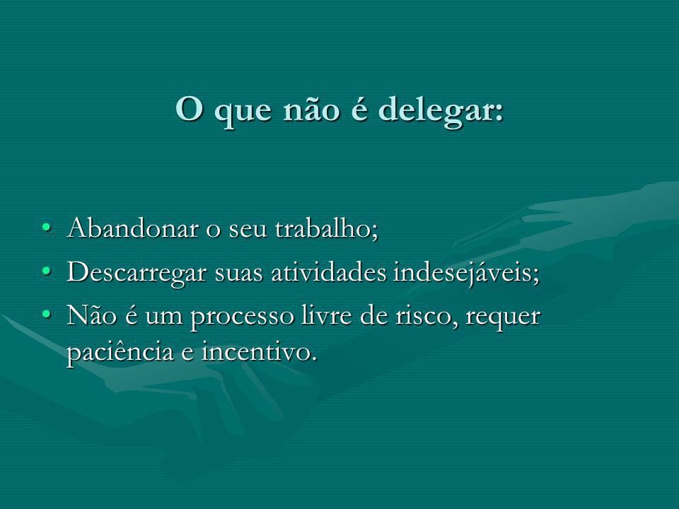 O que não é delegar: Abandonar o seu trabalho;Abandonar o seu trabalho; Descarregar suas atividades indesejáveis;Descarregar suas atividades indesejáv