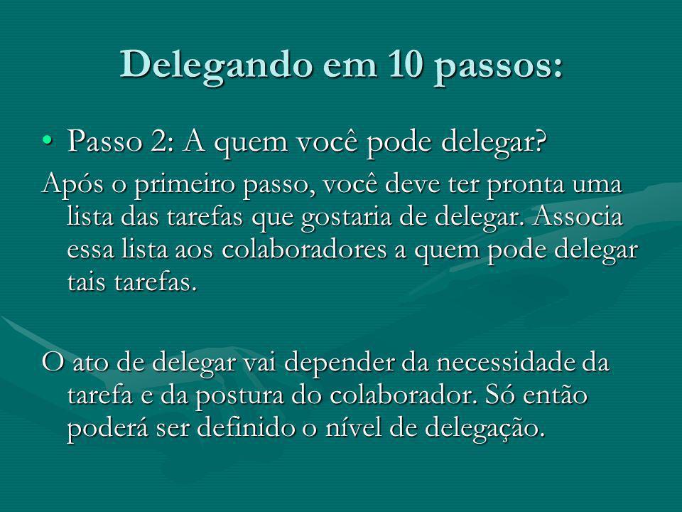 Delegando em 10 passos: Passo 2: A quem você pode delegar?Passo 2: A quem você pode delegar? Após o primeiro passo, você deve ter pronta uma lista das
