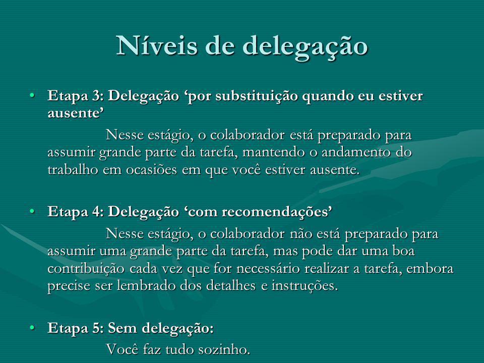 Níveis de delegação Etapa 3: Delegação por substituição quando eu estiver ausenteEtapa 3: Delegação por substituição quando eu estiver ausente Nesse e