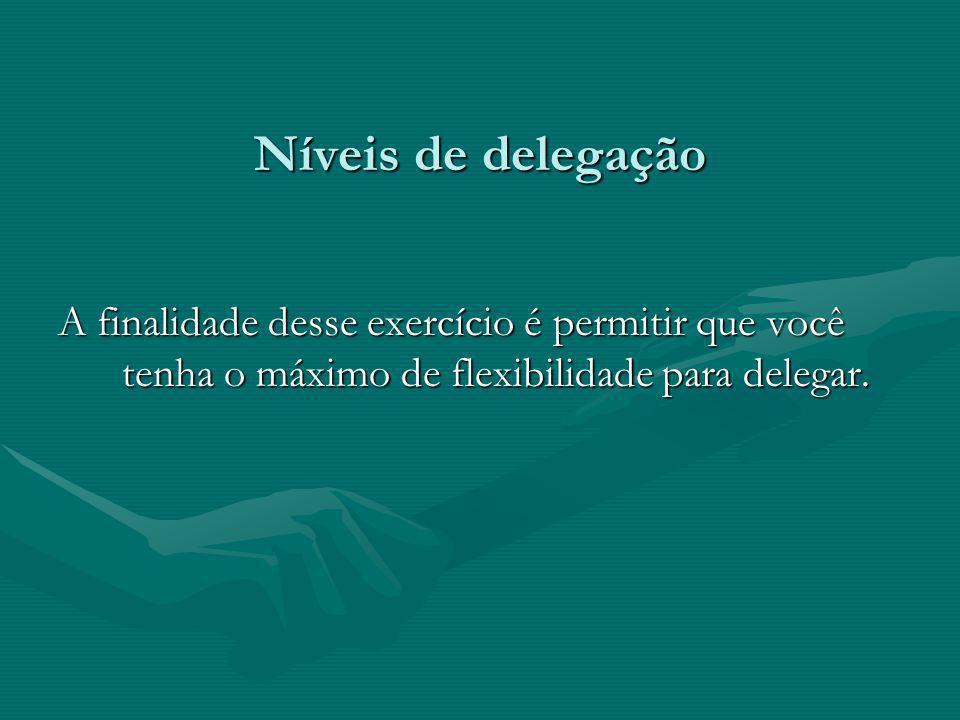A finalidade desse exercício é permitir que você tenha o máximo de flexibilidade para delegar.