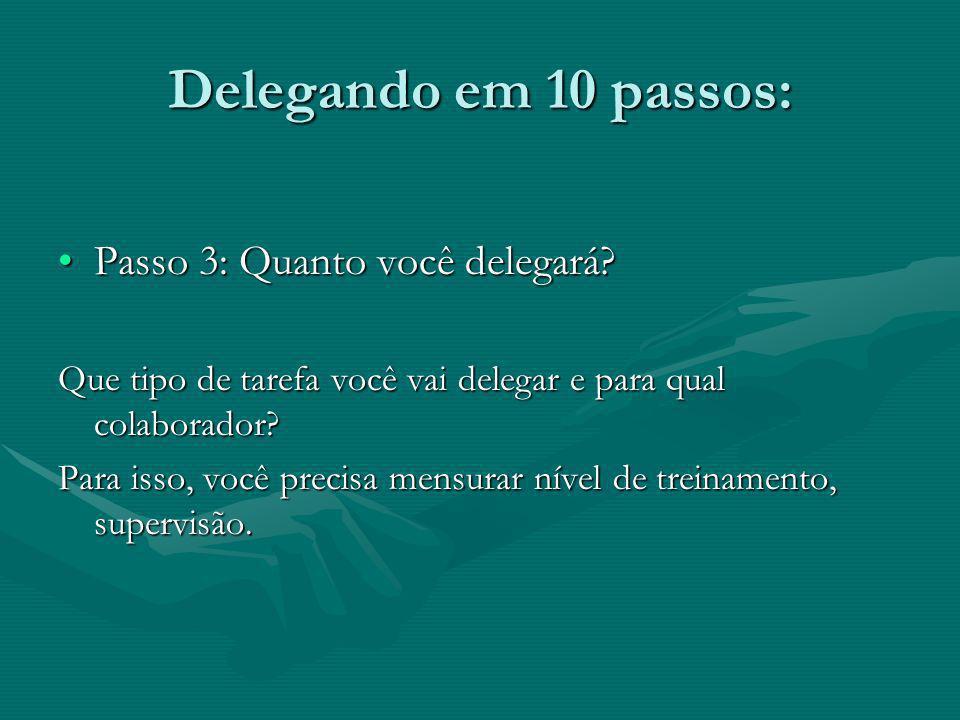 Delegando em 10 passos: Passo 3: Quanto você delegará?Passo 3: Quanto você delegará? Que tipo de tarefa você vai delegar e para qual colaborador? Para