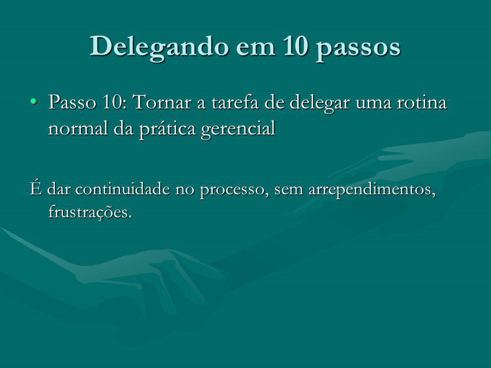 Delegando em 10 passos Passo 10: Tornar a tarefa de delegar uma rotina normal da prática gerencialPasso 10: Tornar a tarefa de delegar uma rotina norm