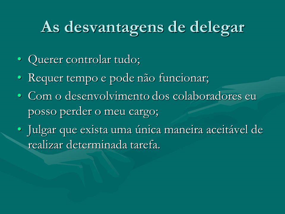 As desvantagens de delegar Querer controlar tudo;Querer controlar tudo; Requer tempo e pode não funcionar;Requer tempo e pode não funcionar; Com o des