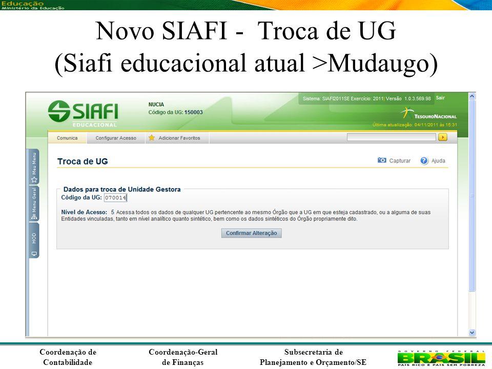 Coordenação de Contabilidade Coordenação-Geral de Finanças Subsecretaria de Planejamento e Orçamento/SE Novo SIAFI - Troca de UG (Siafi educacional atual >Mudaugo)