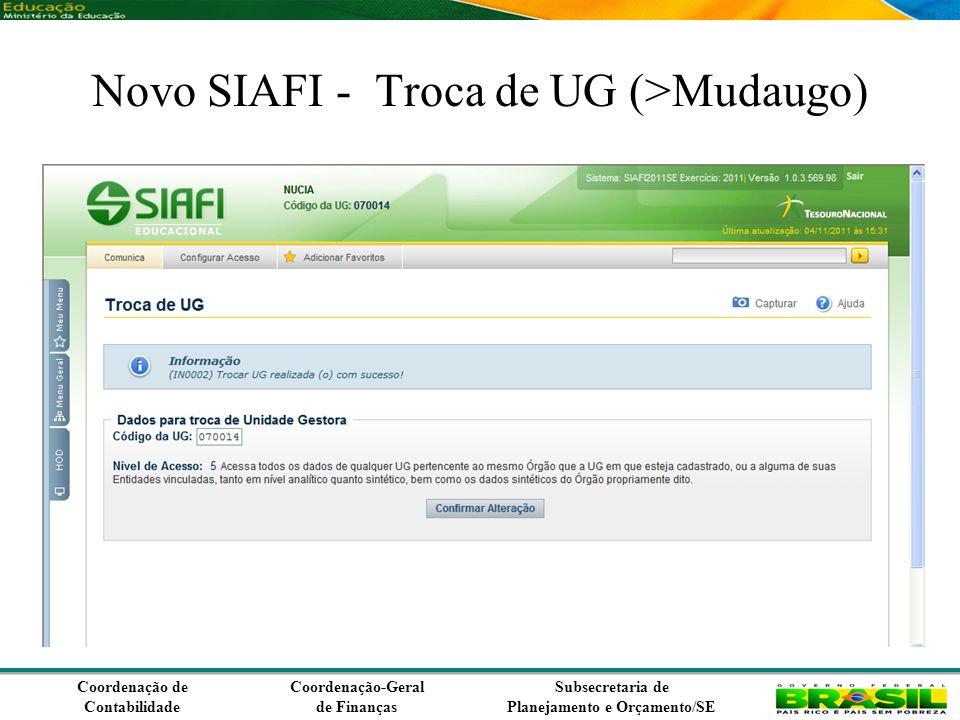 Coordenação de Contabilidade Coordenação-Geral de Finanças Subsecretaria de Planejamento e Orçamento/SE Novo SIAFI - Troca de UG (>Mudaugo)