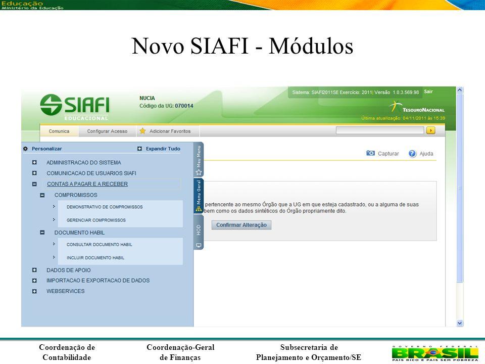 Coordenação de Contabilidade Coordenação-Geral de Finanças Subsecretaria de Planejamento e Orçamento/SE Novo SIAFI - Módulos