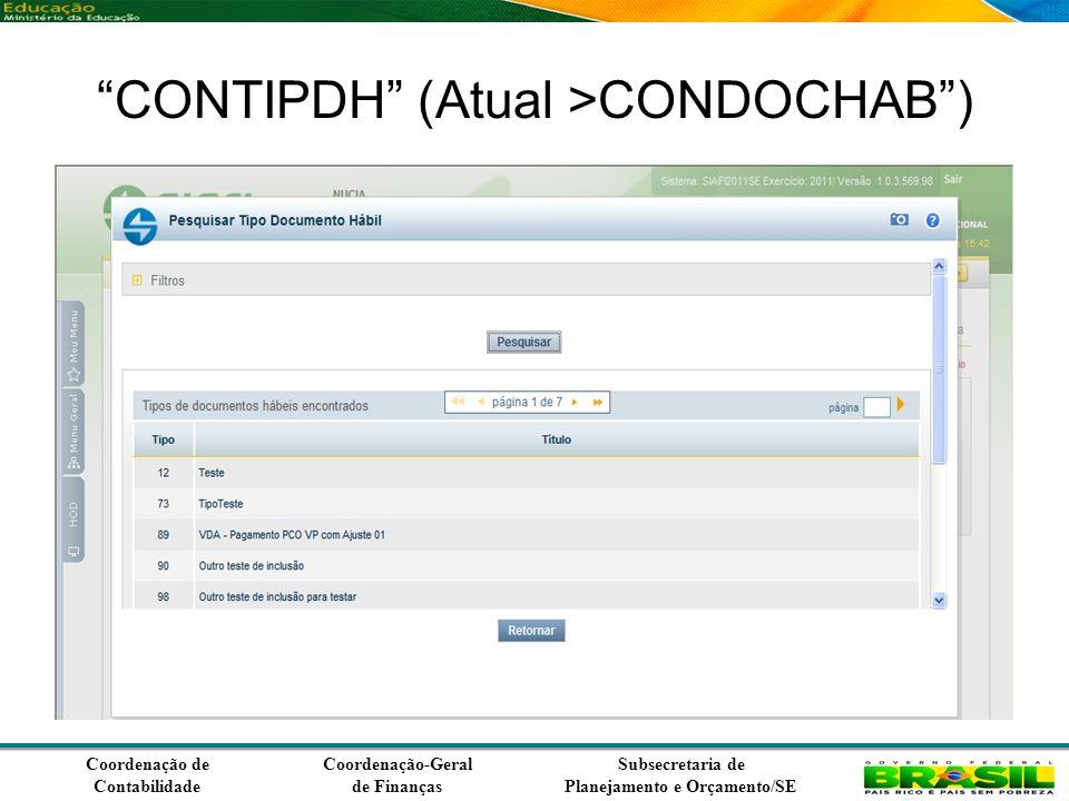 Coordenação de Contabilidade Coordenação-Geral de Finanças Subsecretaria de Planejamento e Orçamento/SE CONTIPDH (Atual >CONDOCHAB)
