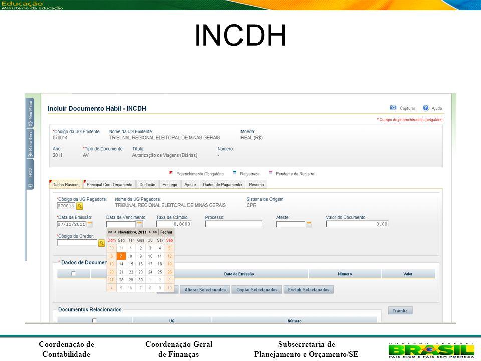 Coordenação de Contabilidade Coordenação-Geral de Finanças Subsecretaria de Planejamento e Orçamento/SE INCDH