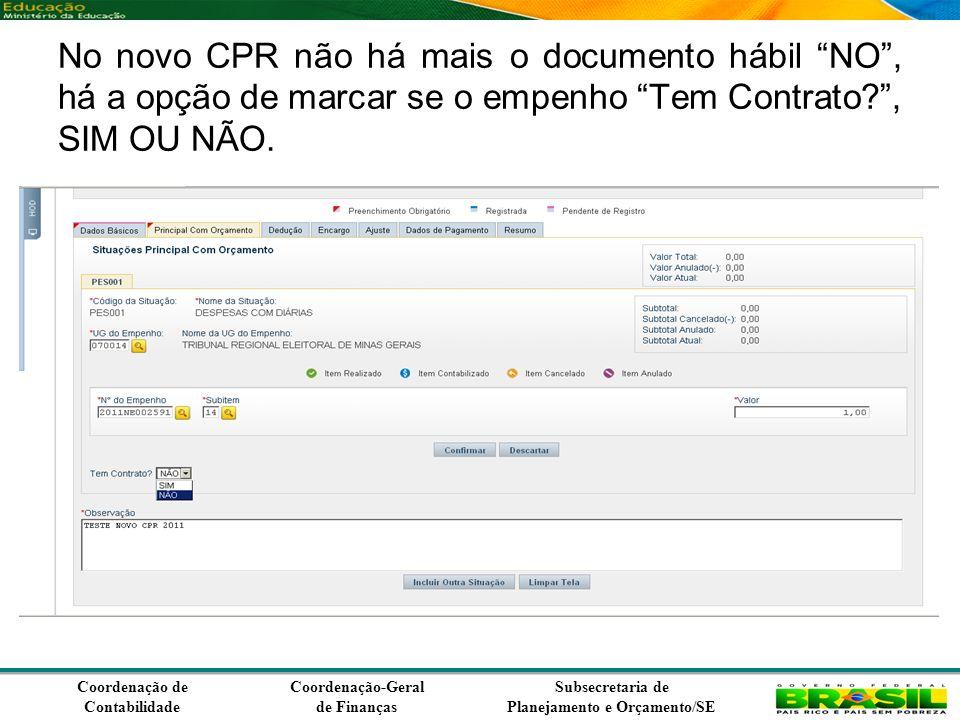 Coordenação de Contabilidade Coordenação-Geral de Finanças Subsecretaria de Planejamento e Orçamento/SE No novo CPR não há mais o documento hábil NO, há a opção de marcar se o empenho Tem Contrato , SIM OU NÃO.