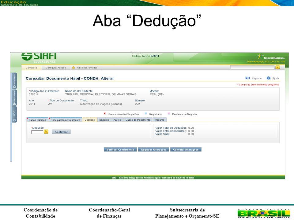 Coordenação de Contabilidade Coordenação-Geral de Finanças Subsecretaria de Planejamento e Orçamento/SE Aba Dedução