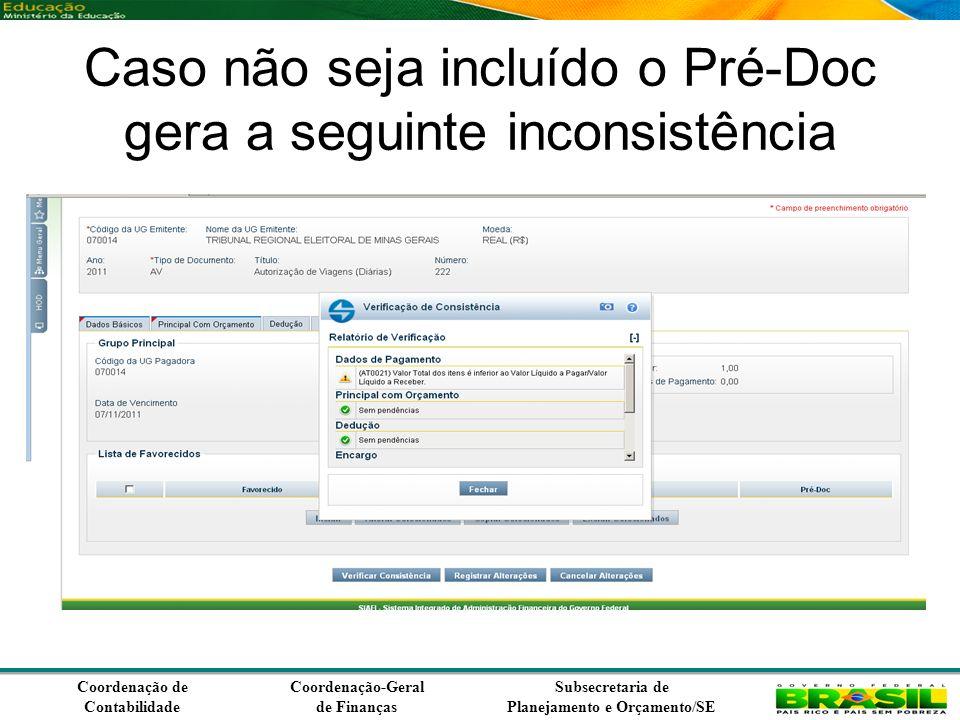 Coordenação de Contabilidade Coordenação-Geral de Finanças Subsecretaria de Planejamento e Orçamento/SE Caso não seja incluído o Pré-Doc gera a seguinte inconsistência