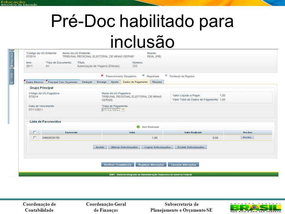 Coordenação de Contabilidade Coordenação-Geral de Finanças Subsecretaria de Planejamento e Orçamento/SE Pré-Doc habilitado para inclusão