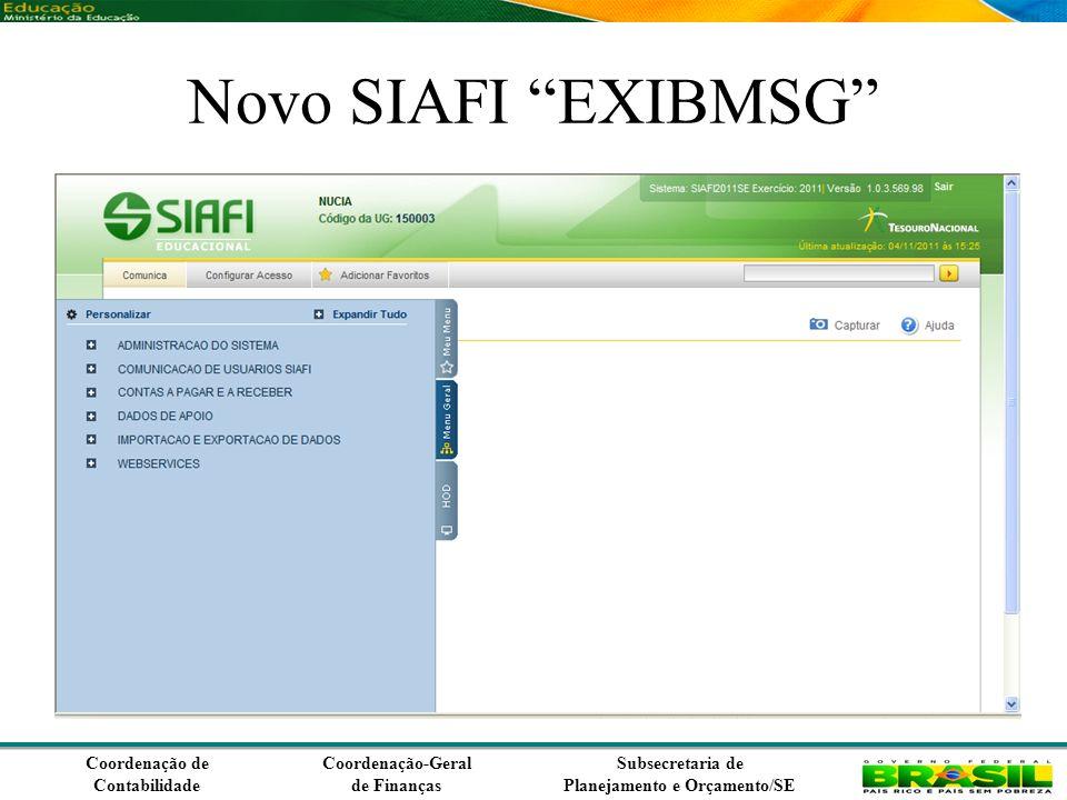 Coordenação de Contabilidade Coordenação-Geral de Finanças Subsecretaria de Planejamento e Orçamento/SE Novo SIAFI EXIBMSG
