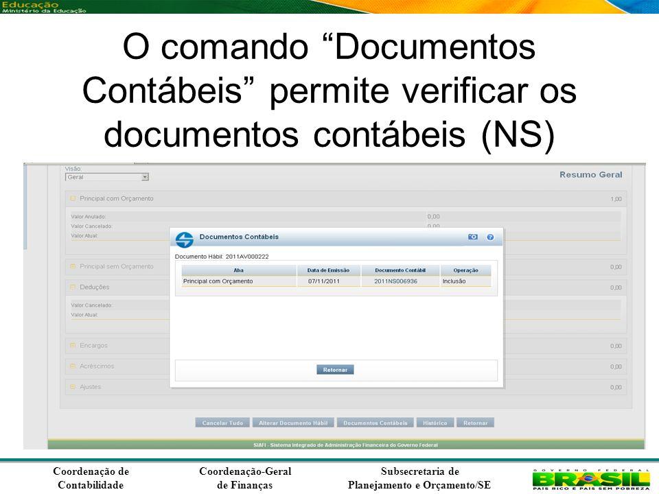 Coordenação de Contabilidade Coordenação-Geral de Finanças Subsecretaria de Planejamento e Orçamento/SE O comando Documentos Contábeis permite verificar os documentos contábeis (NS) gerados