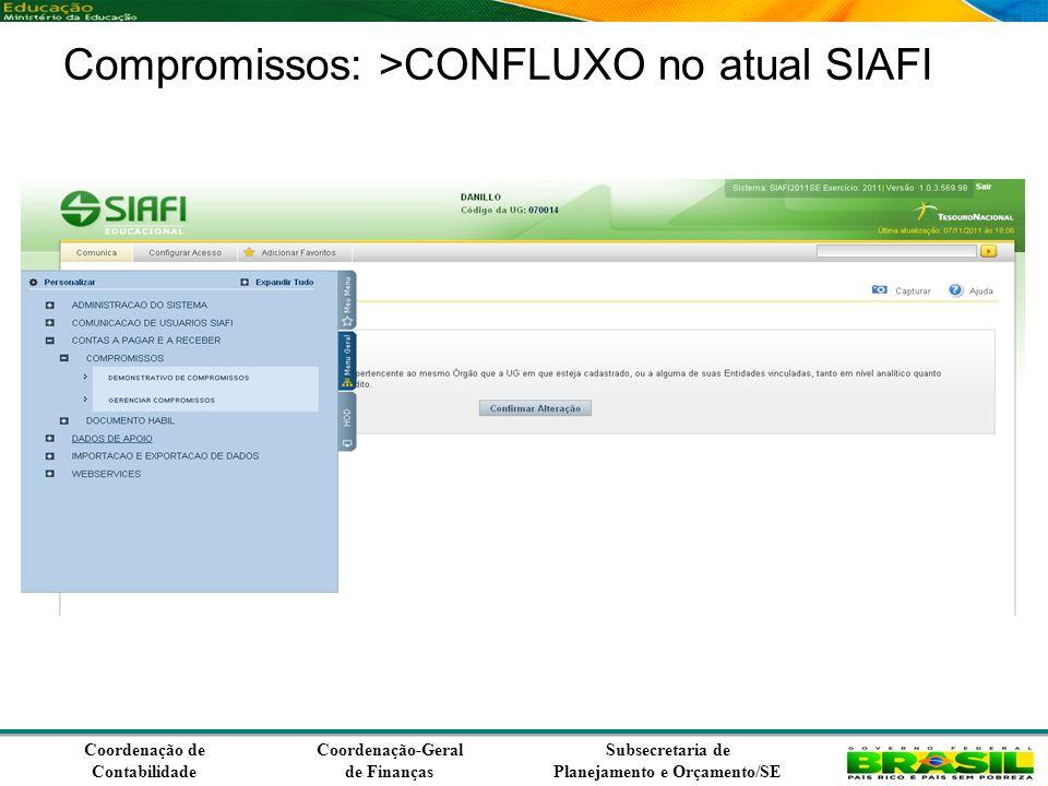Coordenação de Contabilidade Coordenação-Geral de Finanças Subsecretaria de Planejamento e Orçamento/SE Compromissos: >CONFLUXO no atual SIAFI