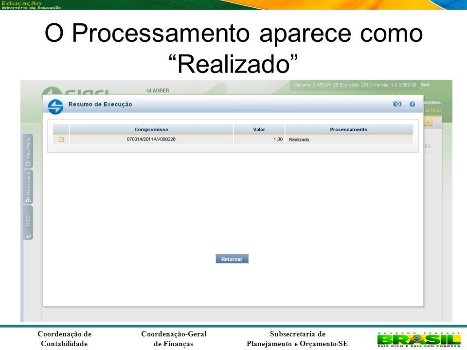 Coordenação de Contabilidade Coordenação-Geral de Finanças Subsecretaria de Planejamento e Orçamento/SE O Processamento aparece como Realizado