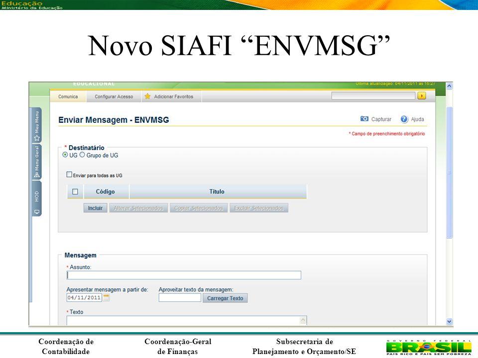 Coordenação de Contabilidade Coordenação-Geral de Finanças Subsecretaria de Planejamento e Orçamento/SE Novo SIAFI ENVMSG