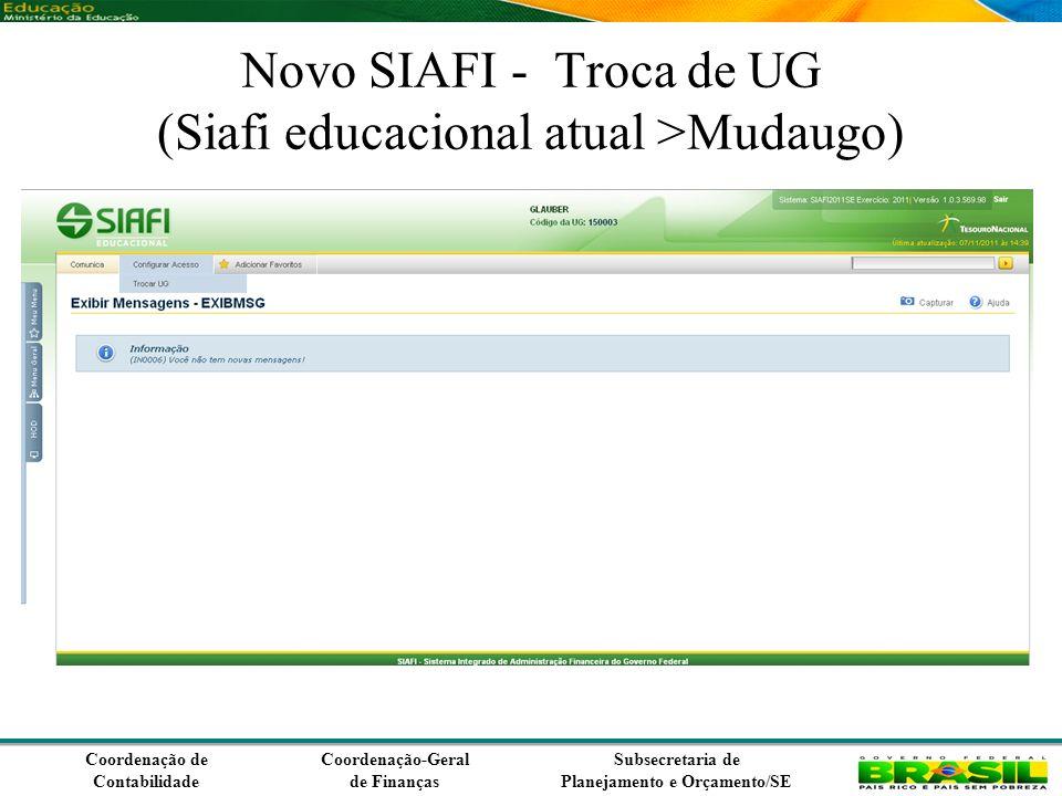 Coordenação de Contabilidade Coordenação-Geral de Finanças Subsecretaria de Planejamento e Orçamento/SE No caso a vinculação selecionada foi a 400