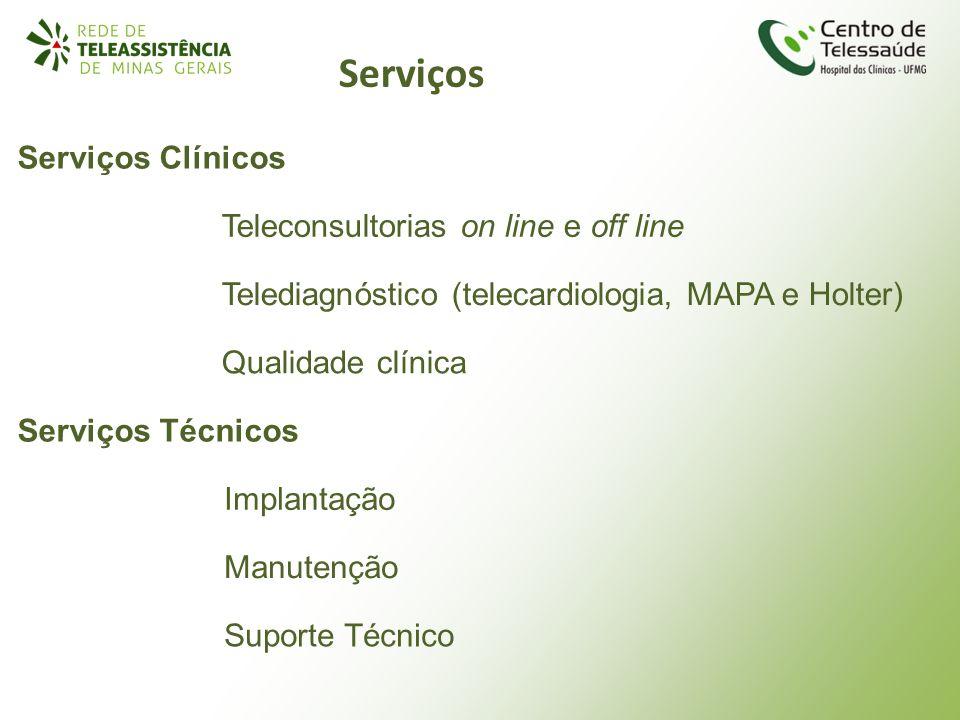 Serviços Teleconsultorias on line e off line Telediagnóstico (telecardiologia, MAPA e Holter) Qualidade clínica Serviços Clínicos Serviços Técnicos Im