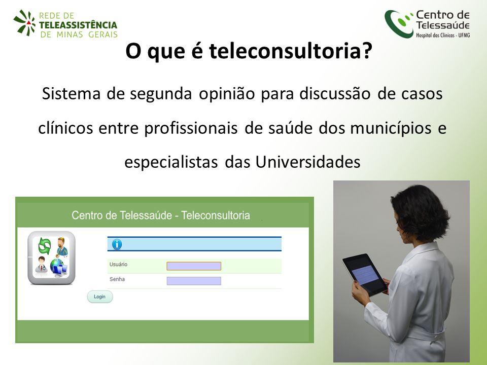 O que é teleconsultoria? Sistema de segunda opinião para discussão de casos clínicos entre profissionais de saúde dos municípios e especialistas das U