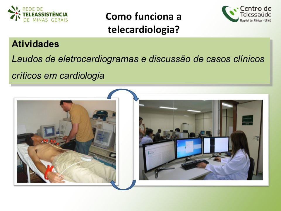 Como funciona a telecardiologia? Atividades Laudos de eletrocardiogramas e discussão de casos clínicos críticos em cardiologia Atividades Laudos de el