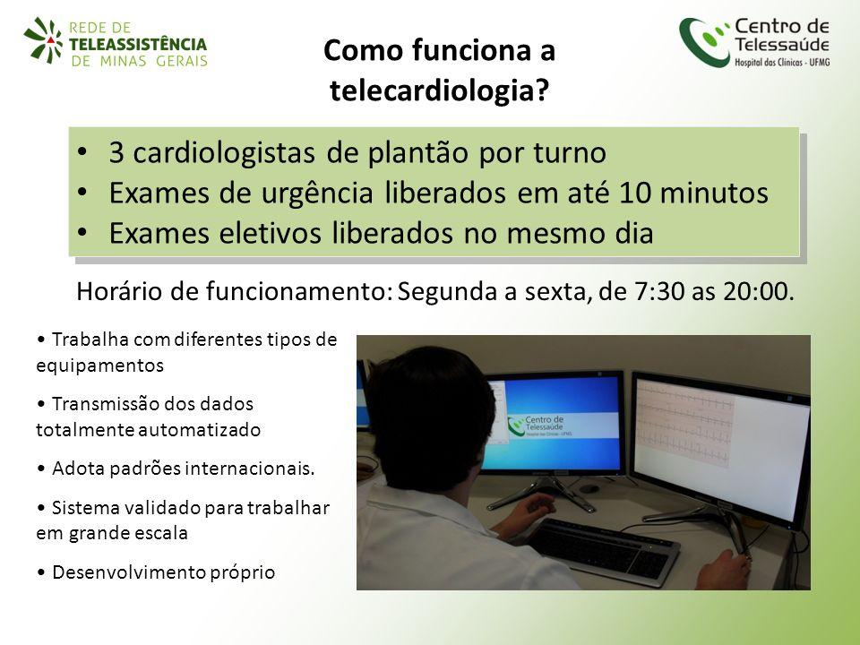 Horário de funcionamento: Segunda a sexta, de 7:30 as 20:00. 3 cardiologistas de plantão por turno Exames de urgência liberados em até 10 minutos Exam