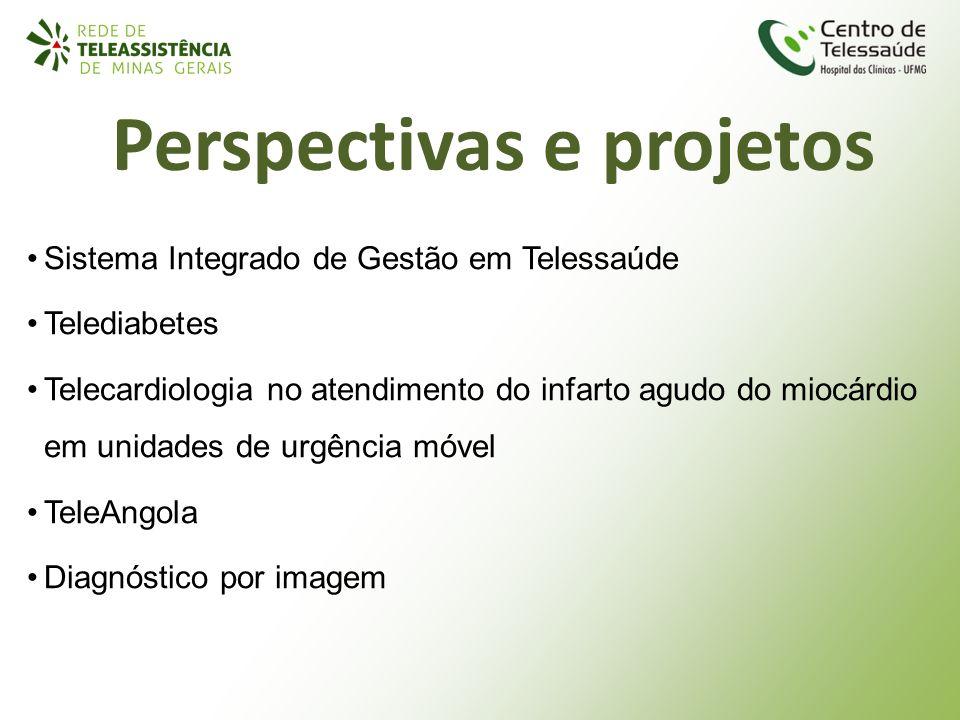 Perspectivas e projetos Sistema Integrado de Gestão em Telessaúde Telediabetes Telecardiologia no atendimento do infarto agudo do miocárdio em unidade