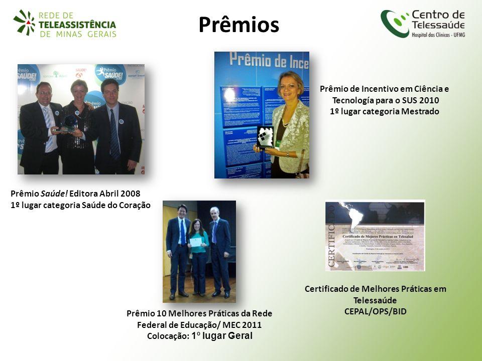 Prêmios Prêmio de Incentivo em Ciência e Tecnología para o SUS 2010 1º lugar categoria Mestrado Prêmio Saúde! Editora Abril 2008 1º lugar categoria Sa