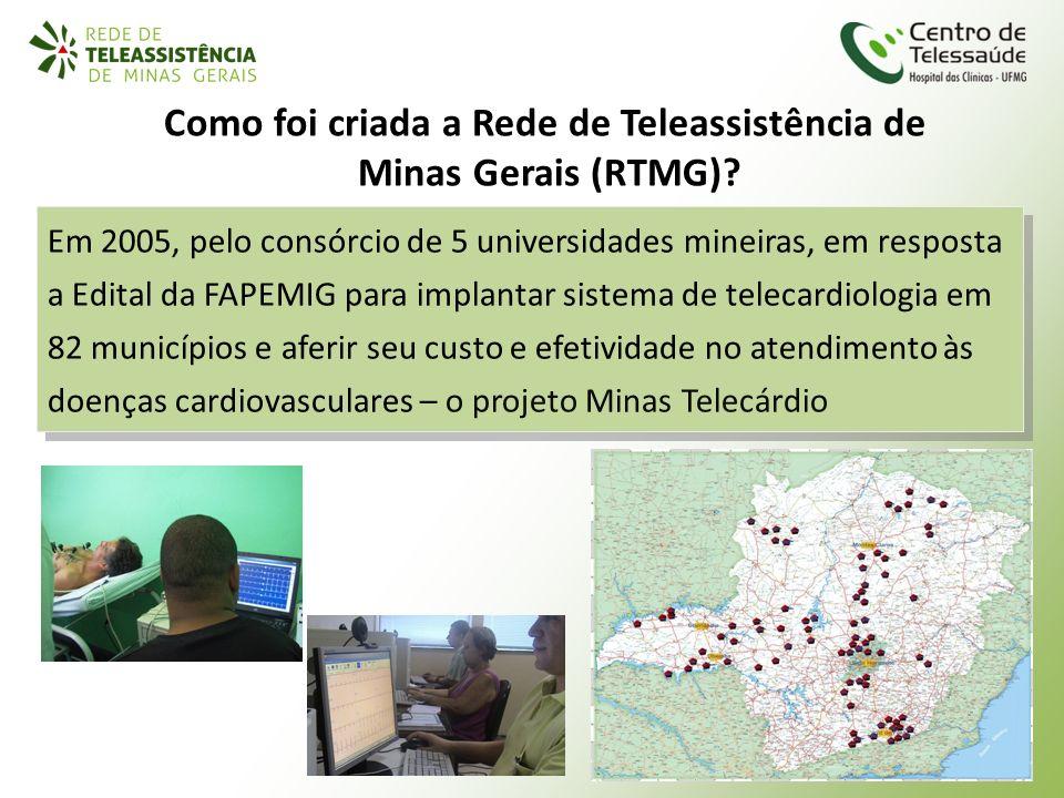 Como foi criada a Rede de Teleassistência de Minas Gerais (RTMG)? Em 2005, pelo consórcio de 5 universidades mineiras, em resposta a Edital da FAPEMIG