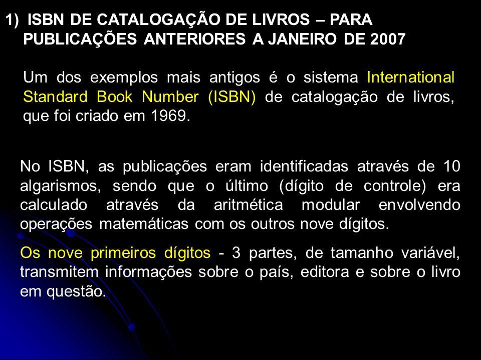 No ISBN, as publicações eram identificadas através de 10 algarismos, sendo que o último (dígito de controle) era calculado através da aritmética modular envolvendo operações matemáticas com os outros nove dígitos.