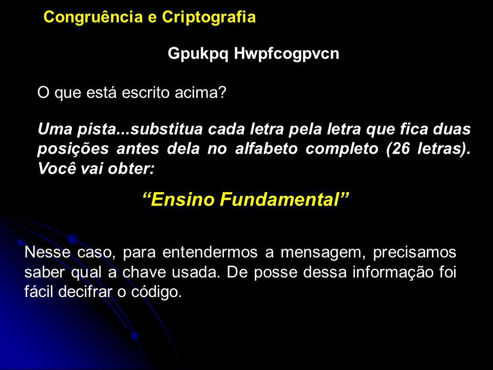 Congruência e Criptografia Gpukpq Hwpfcogpvcn O que está escrito acima.