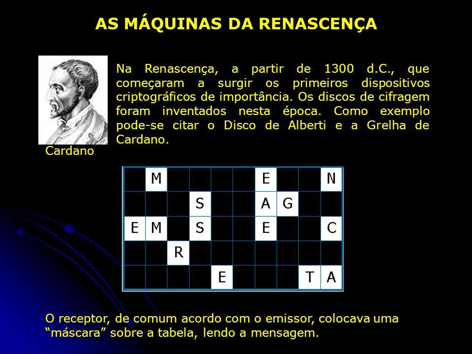Na Renascença, a partir de 1300 d.C., que começaram a surgir os primeiros dispositivos criptográficos de importância. Os discos de cifragem foram inve