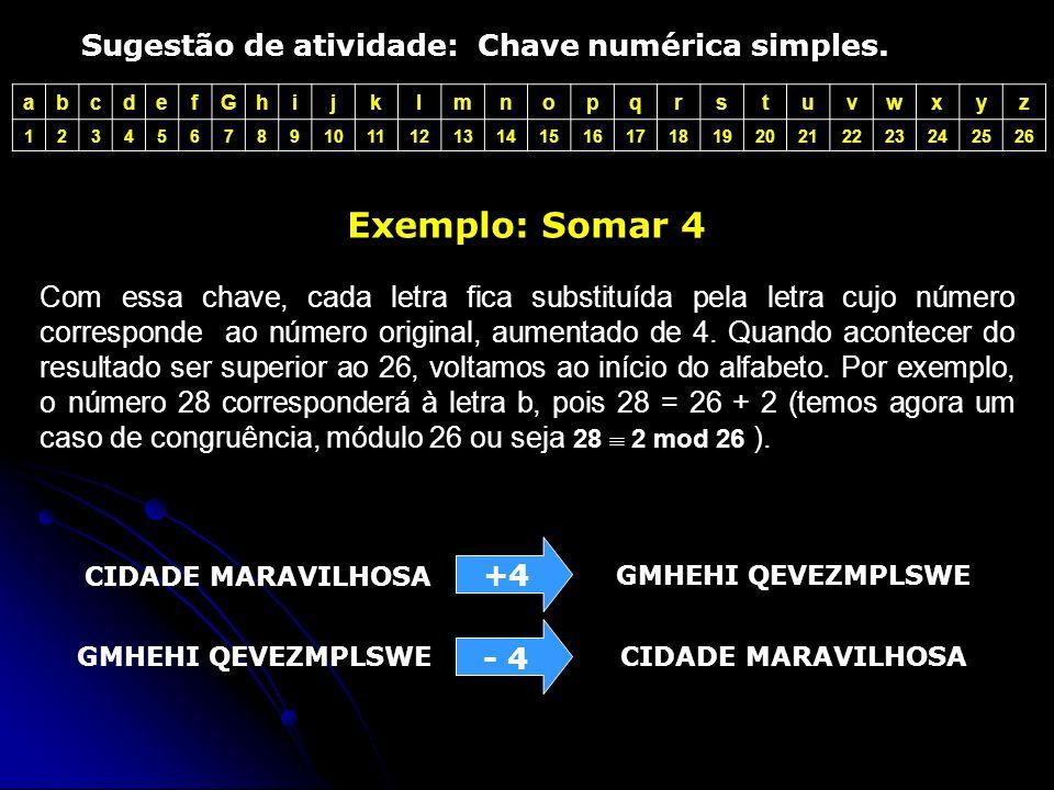 abcdefGhijklmnopqrstuvwxyz 1234567891011121314151617181920212223242526 Sugestão de atividade: Chave numérica simples.