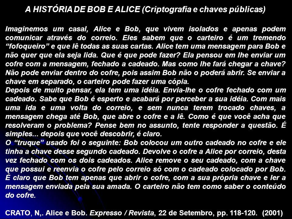 A HISTÓRIA DE BOB E ALICE (Criptografia e chaves públicas) Imaginemos um casal, Alice e Bob, que vivem isolados e apenas podem comunicar através do correio.