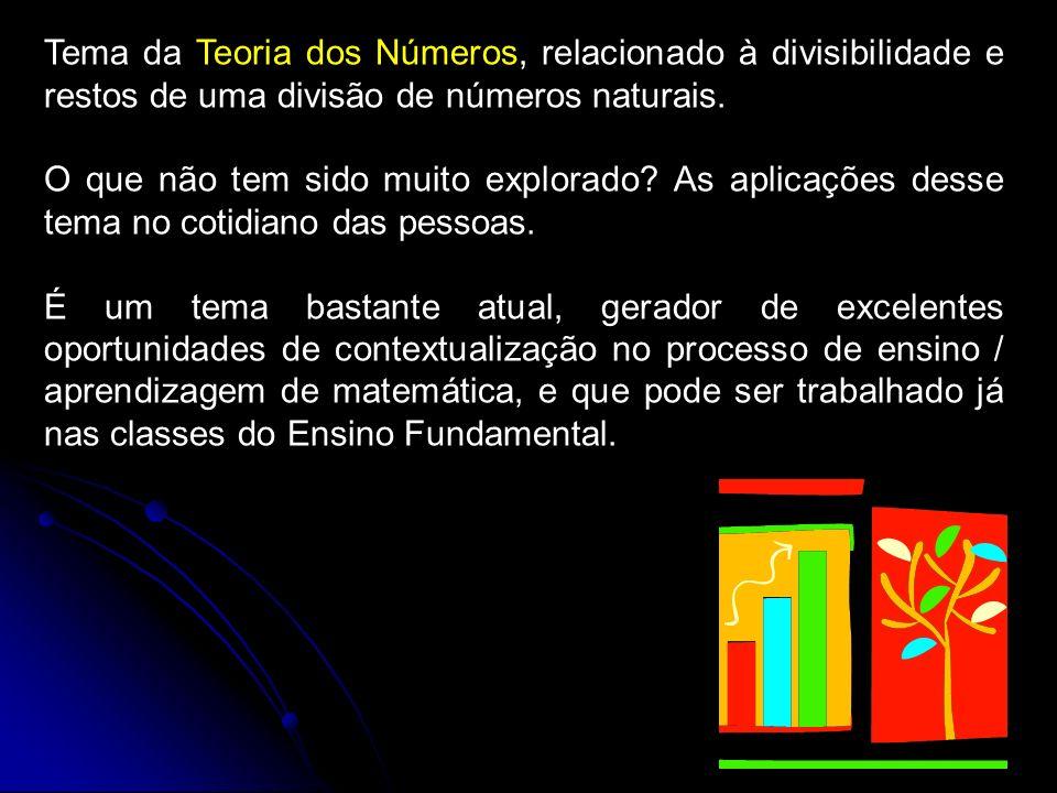 Tema da Teoria dos Números, relacionado à divisibilidade e restos de uma divisão de números naturais. O que não tem sido muito explorado? As aplicaçõe