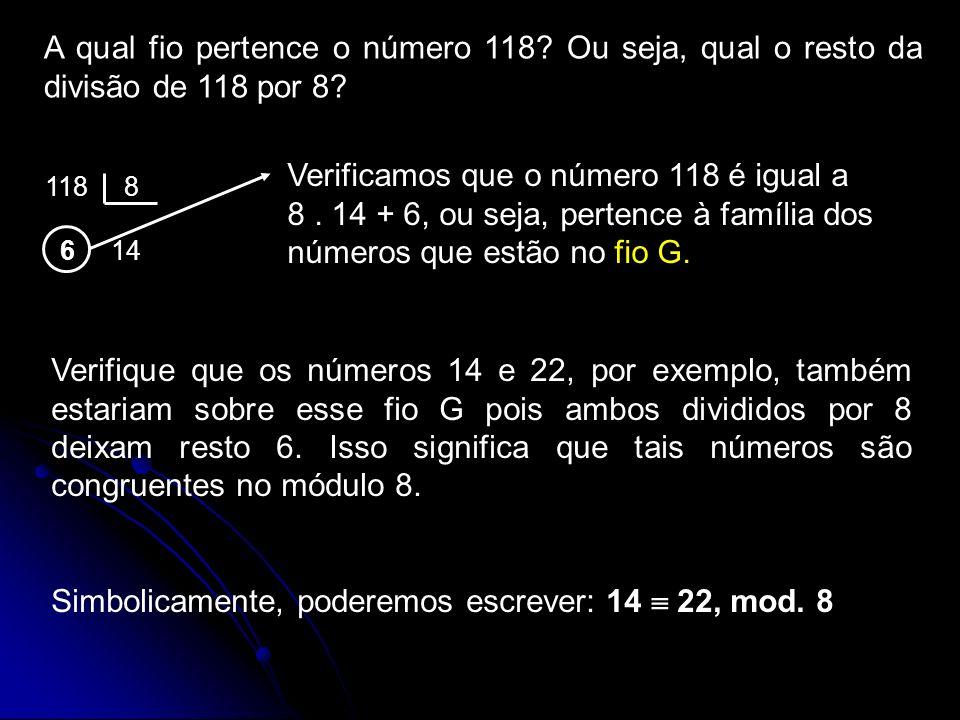 A qual fio pertence o número 118? Ou seja, qual o resto da divisão de 118 por 8? 118 8 6 14 Verificamos que o número 118 é igual a 8. 14 + 6, ou seja,