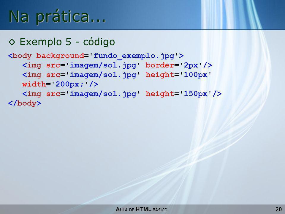 20 Na prática... A ULA DE HTML BÁSICO Exemplo 5 - código