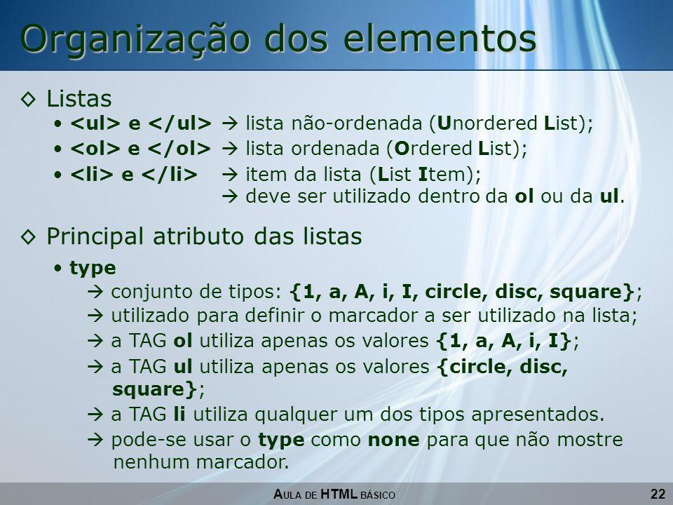 22 Organização dos elementos A ULA DE HTML BÁSICO Listas e lista não-ordenada (Unordered List); e lista ordenada (Ordered List); e item da lista (List