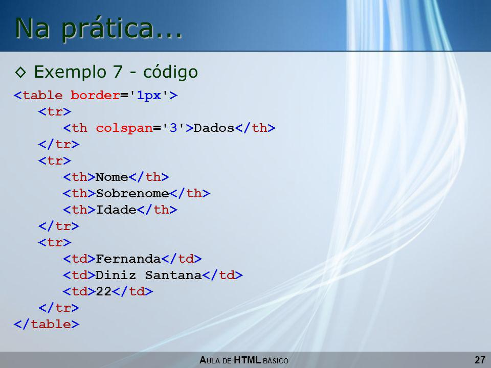 27 Na prática... A ULA DE HTML BÁSICO Exemplo 7 - código Dados Nome Sobrenome Idade Fernanda Diniz Santana 22