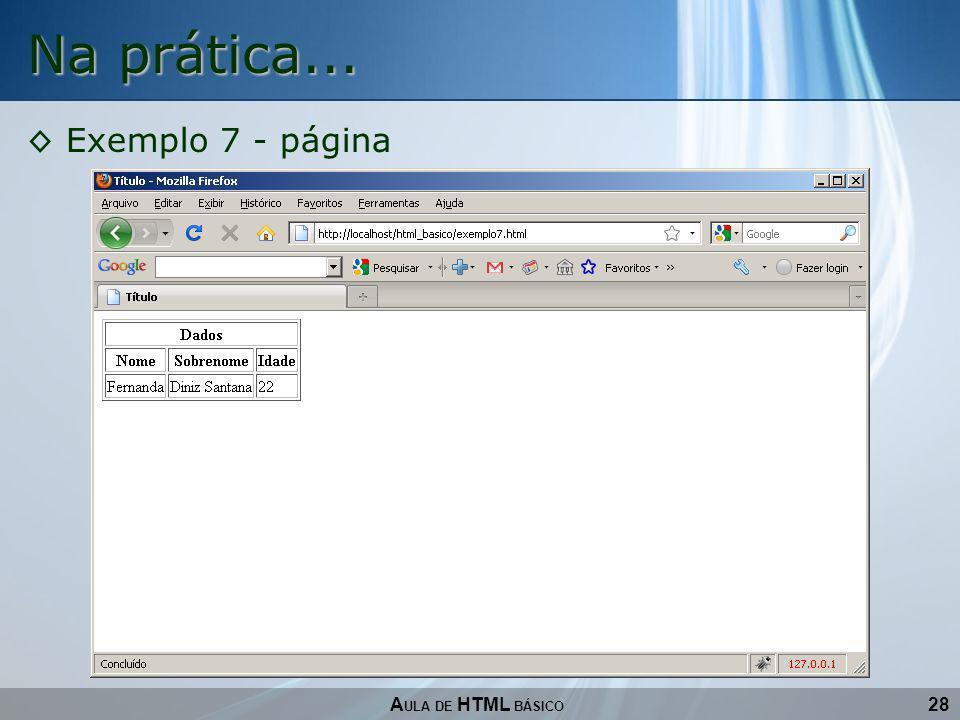 28 Na prática... A ULA DE HTML BÁSICO Exemplo 7 - página