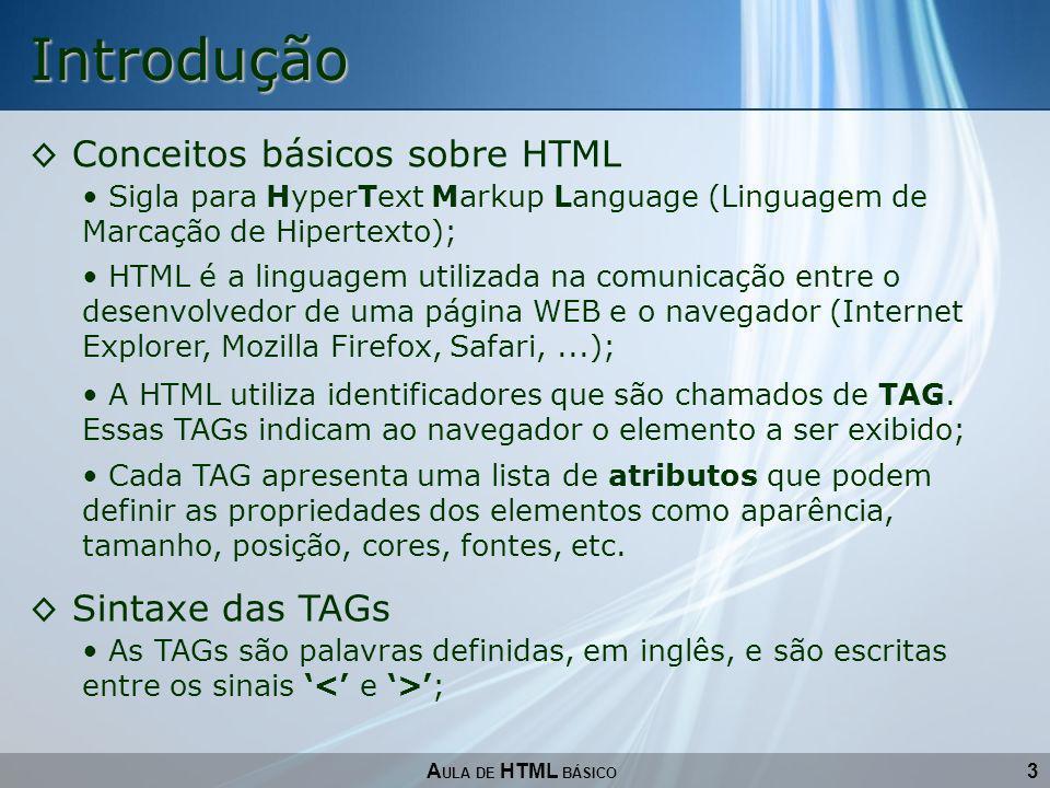 3 Introdução Conceitos básicos sobre HTML A ULA DE HTML BÁSICO Sigla para HyperText Markup Language (Linguagem de Marcação de Hipertexto); HTML é a li