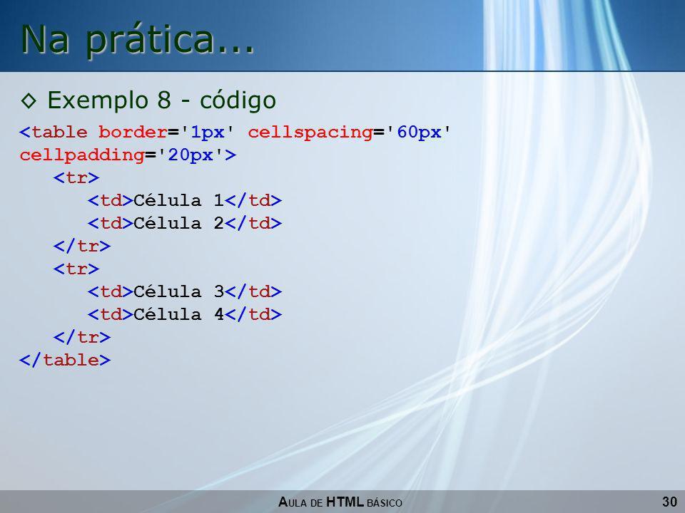 30 Na prática... A ULA DE HTML BÁSICO Exemplo 8 - código Célula 1 Célula 2 Célula 3 Célula 4