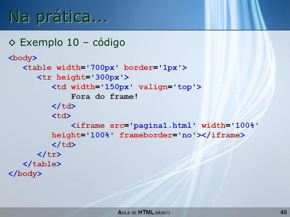 40 Na prática... A ULA DE HTML BÁSICO Exemplo 10 – código Fora do frame!