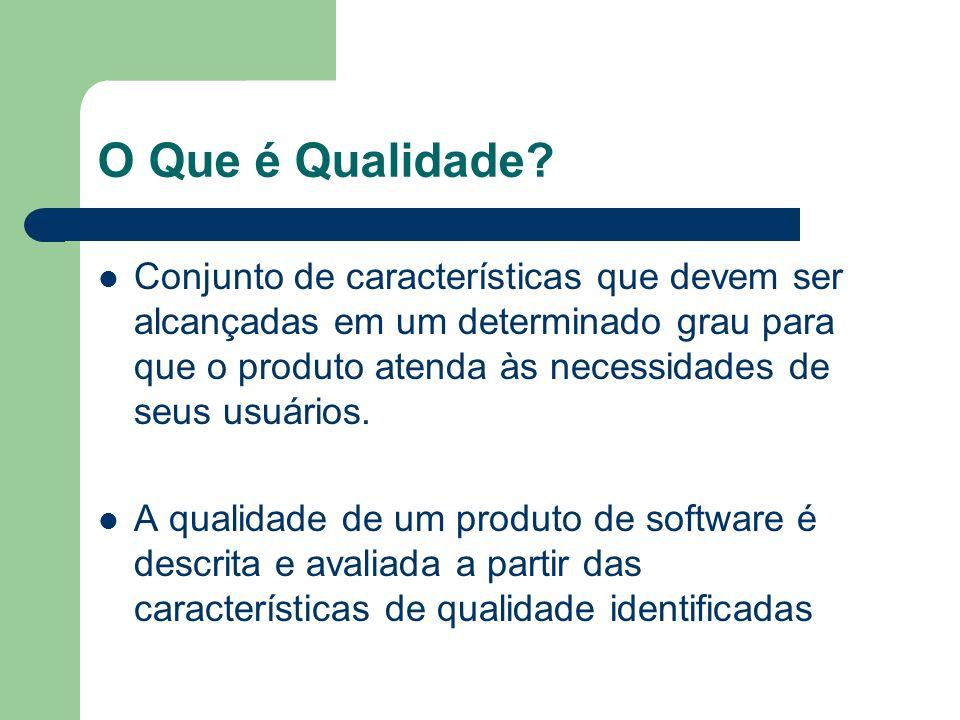 Características de Qualidade Características de qualidade podem ser detalhadas em vários níveis de sub- características Necessário organizar as características de qualidade em modelos para avaliar a qualidade de software