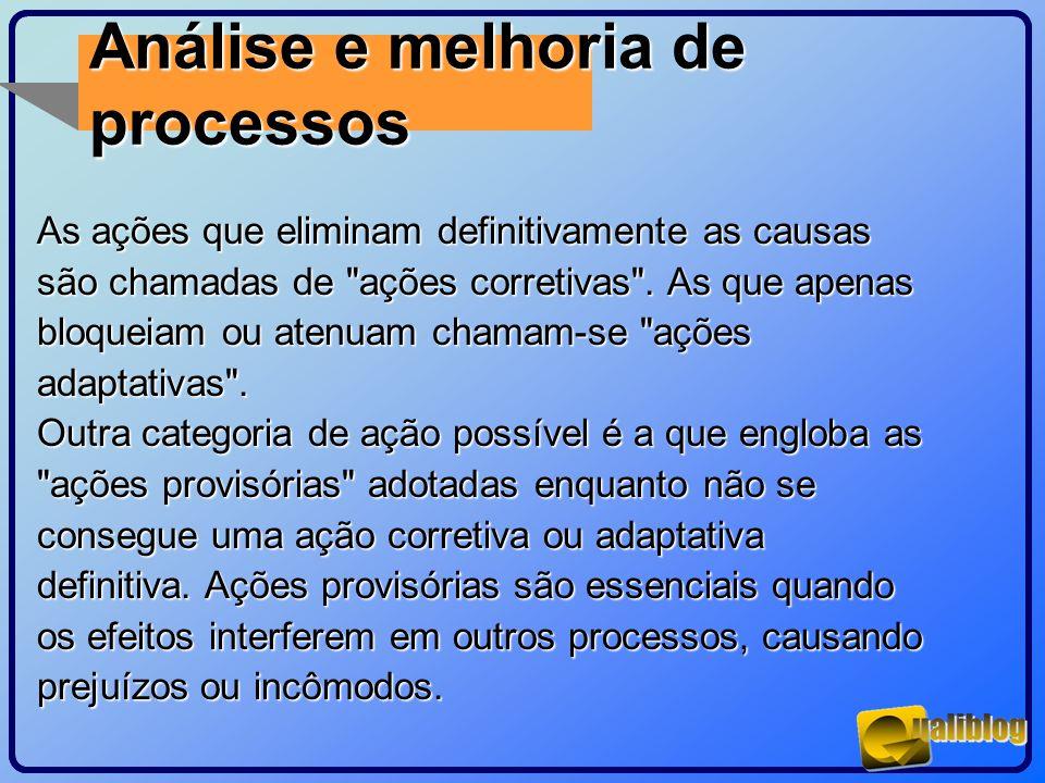 Análise e melhoria de processos As ações que eliminam definitivamente as causas são chamadas de
