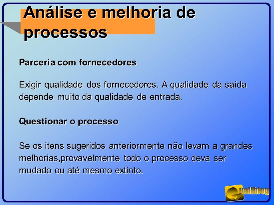 Análise e melhoria de processos Parceria com fornecedores Exigir qualidade dos fornecedores. A qualidade da saída depende muito da qualidade de entrad