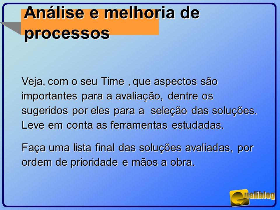 Análise e melhoria de processos Veja, com o seu Time, que aspectos são importantes para a avaliação, dentre os sugeridos por eles para a seleção das s