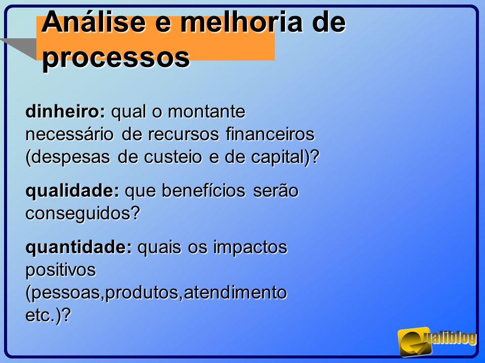 Análise e melhoria de processos dinheiro: qual o montante necessário de recursos financeiros (despesas de custeio e de capital)? qualidade: que benefí